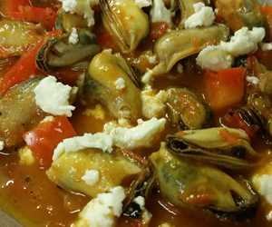 Mythia Saganaki- Mussels with feta and peppers