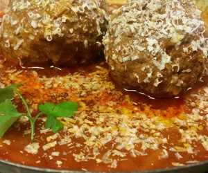 Soutzoukakia- large veal meatballs with orzo