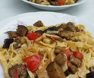Pseftopetino- house pasta with roasted eggplant