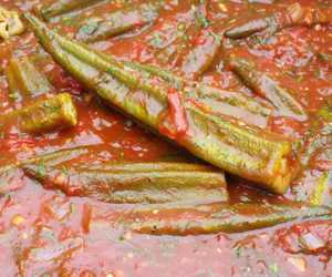 bamies- okra braised in tomato, dill and honey